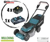 MAKITA Tondeuse 36 V Li-Ion 2000m² + 4 batteries Réf : DLM530PT4