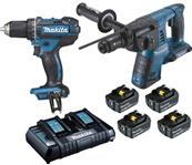 MAKITA 2 machines Li-Ion 18 V Perceuse - Perfo-burineur DDF482 + DHR264 Réf : DLX2138PTJ