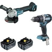 MAKITA Pack 2 machines Meuleuse DGA506 Perceuse percu. DHP484 Réf : DLX2210TJ1