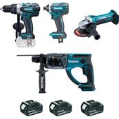 MAKITA Ensemble 4 machines (DDF458 + DHR202 + DTD152 + DGA452) - DLX4054MX1